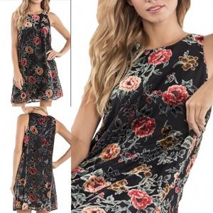 Miss Me Black Floral Embroidered Sleeveless Dress